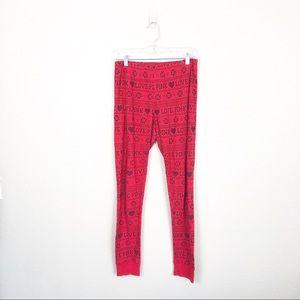 VS Pink Sleepwear Thermal Pants Holiday sz M